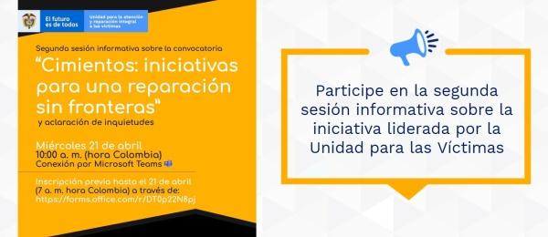 Participe en la segunda sesión informativa sobre la iniciativa liderada por la Unidad para las Víctimas
