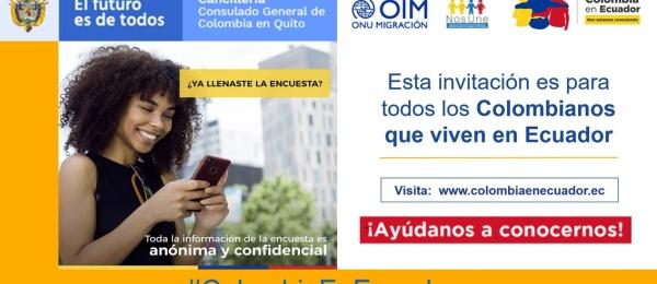 Consulado en Quito invita a los colombianos que viven en Ecuador a participar el proyecto de caracterización de la población