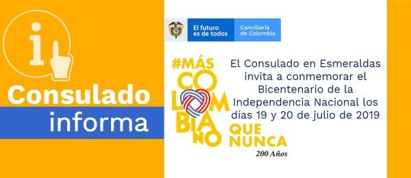 El Consulado de Colombia en Esmeraldas invita a conmemorar el Bicentenario de la Independencia Nacional los días 19 y 20 de julio de 2019
