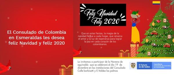 Consulado de Colombia en Esmeraldas invita a la novena de aguinaldo el 19 de diciembre de 2019