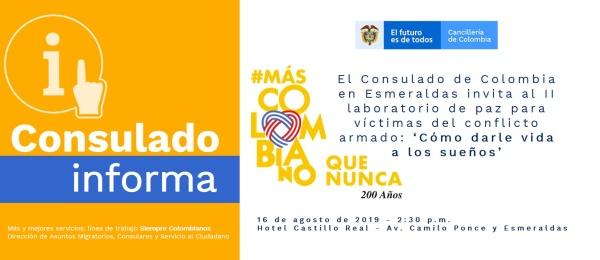 Consulado de Colombia en Esmeraldas invita al Taller 'Cómo darle vida a los sueños', que se realizará el 16 de agosto de 2019