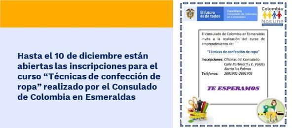 """Hasta el 10 de diciembre están abiertas las inscripciones para el curso """"Técnicas de confección de ropa"""" realizado por el Consulado de Colombia"""